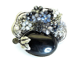 MAJESTIC HANDCRAFTED BLACK CRYSTAL, NATURAL STONE FLOWER  BROOCH / PIN - $28.00