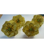 Vintage Country Tole Painted Yellow Enamel Metal Flower Napkin Ring Set ... - $46.00