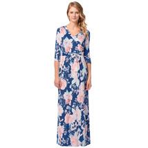 AOVEI Blue Floral Print Half Sleeve V Neck Casual Boho Long Beach Dress Robe - $24.99