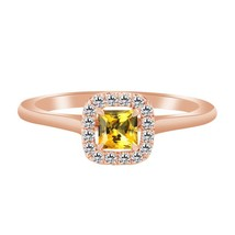 1.60 Ct Yellow Citrine 10k Rose Gold Fn 925 Wedding Engagement Halo Ring - $79.99