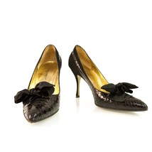 Dolce & Gabbana Black Snakeskin Suede Leather classic pumps with satin bow 38,5 - $294.58