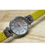ANNE KLEIN LADIES WATCH 10/9889 Y121E STAINLESS STEEL Leather Yellow Band  - $24.74
