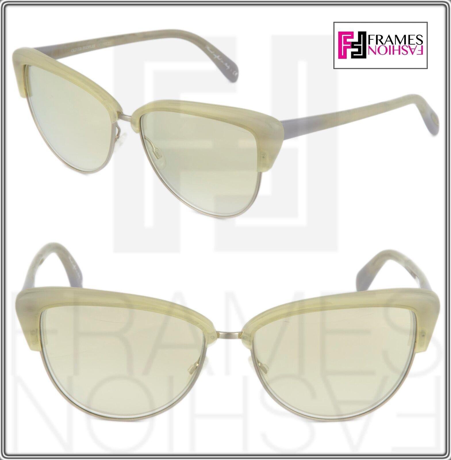 OLIVER PEOPLES ALISHA OV5244S White Pearl Flash Mirrored Sunglasses 5244 Women