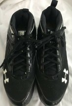 Under Armour Mens 9.5 Black White Logo Ankle Tie Up Sports  Cleats - $24.51