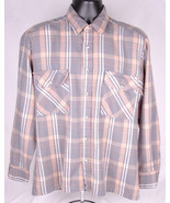 Trophy Club Acrylic Shirt-M-Blue Tan Plaid-Outdoor-Warm-Vtg-Button Up-Po... - $31.78