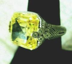 Judith Ripka SS & 18K Gold Asscher-Cut Canary Crystal Sapphire Ring - 7 ... - $239.95