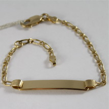 Yellow Gold Bracelet 750 18k with Plate for Engraving, Made in Italy - $521.55
