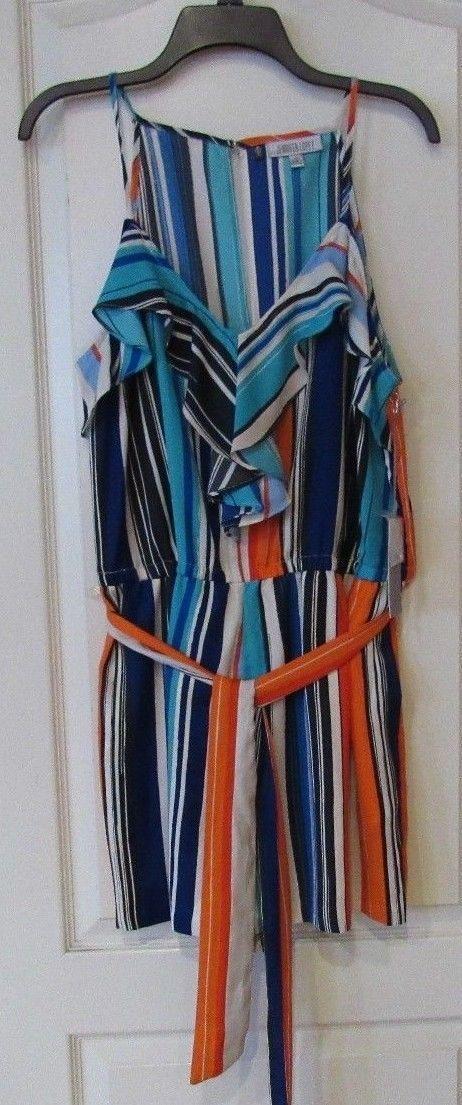 Jennifer Lopez Paridise Palm Multi-color Stripe Romper Women's Sz 12 NWT MSPR$68