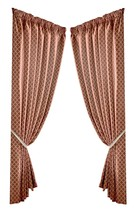 JACQUARD MOROCCAN-STYLE PATTERNED ORANGE LINED PENCIL PLEAT CURTAINS *9 ... - $35.34+