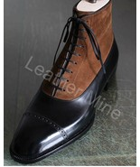 Mens Handmade Black Leather Dress Boots, Custom Made Leather Formal Boots - $179.99+