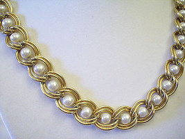 PEARLS Chain Necklace Double CURB LINK Gold Plated Vintage Elegant Estat... - $19.79