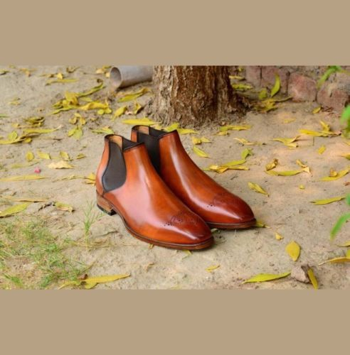Handmade Men's Brown Leather High Ankle Brogues Chelsea Boots