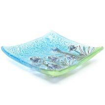Fused Art Glass Purple Iris Flower Design Square Soap Dish Handmade Ecuador image 3