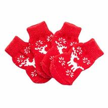 PANDA SUPERSTORE 4 Pcs Christmas Red Elk Dog Knitted Pet Socks Cartoon Cute Pupp