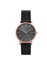Skagen Men's Watch Hagen Slim Rose Gold Black Leather - SKW6447  - $158.95