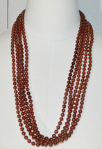 Light Brown Acrylic Multi-Strand Bead Beaded Necklace Vintage - $29.69