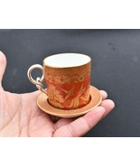 Antique 19th C W. T. Copeland Orange Gold Willow Demitasse Cup Saucer - $24.99