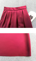 Wine Red Midi Party Skirt A-line Polyester Pleated Midi Skirt Holiday Outfit  image 5