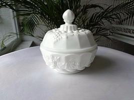 Westmoreland Paneled Grape Milk Glass Powder Box Trinket Dish by Fenton - $23.76
