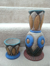 Rare Pair of Matching Southwestern Studio Art Clay Vases - Heavy - Signed - $37.49