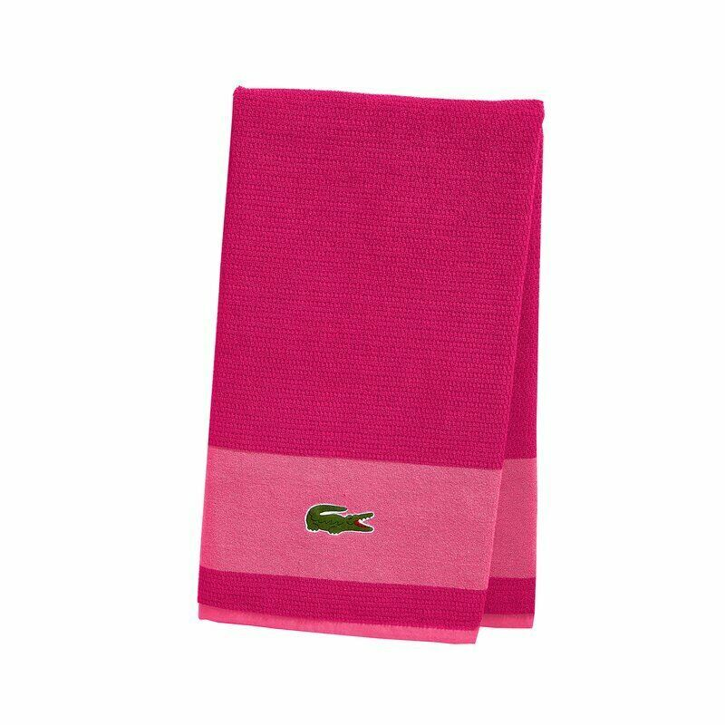 Lacoste Bath Spa Pool Gym Beach Towel Cotton Magenta Pink Croc NEW FREE SHIPPING - $36.62