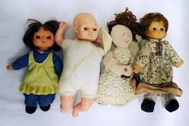 ORIGINAL Vintage Lot of 4 Soft Body Dolls / Brands Unknown  - $9.89