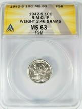 1942 S MERCURY SILVER DIME ANACS MS 63 Curved Rim Clip Clipped Mint Erro... - $94.99