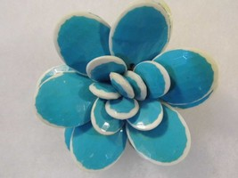Vintage Blue Flower Brooch Fun Cute Costume Fashion Jewelry Pin - $9.66
