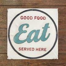 Primitive Country EAT GOOD FOOD SERVED HERE METAL SIGN PLAQUE Farmhouse ... - $44.99