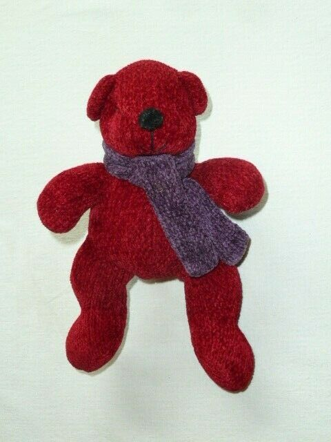 "Primary image for Pottery Barn Teddy Bear 8"" Soft Toy Chenille Burgundy Wine Black Scarf Stuffed"