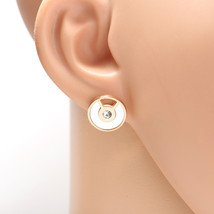 Rose Tone Designer Earrings, Swarovski Style Crystals & Faux Mother of Pearl - $18.99