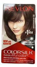 Revlon ColorSilk Beautiful Color 32 MAHOGANY BROWN 3D Color Keratin New Sealed - $12.59