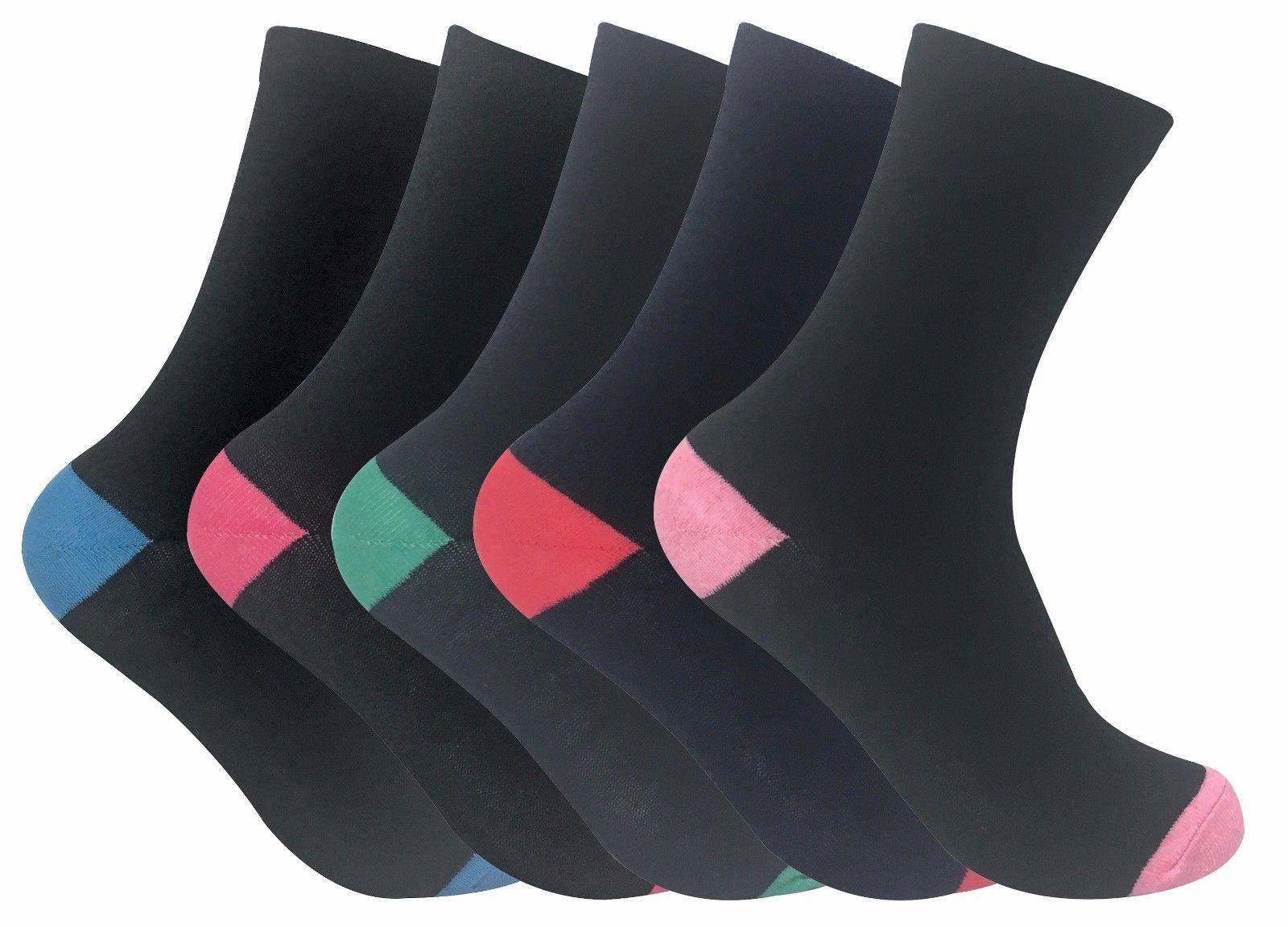Sock Snob - 5 Paia Donna Neri Morbidi Colorati Estivi Cotone Divertenti Calzini