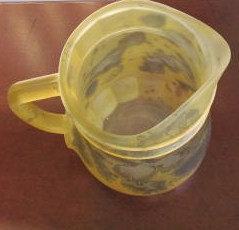 Vintage Reuven Rueven Handpainted Nouveau Yellow Glass Extra large Art Design Ju