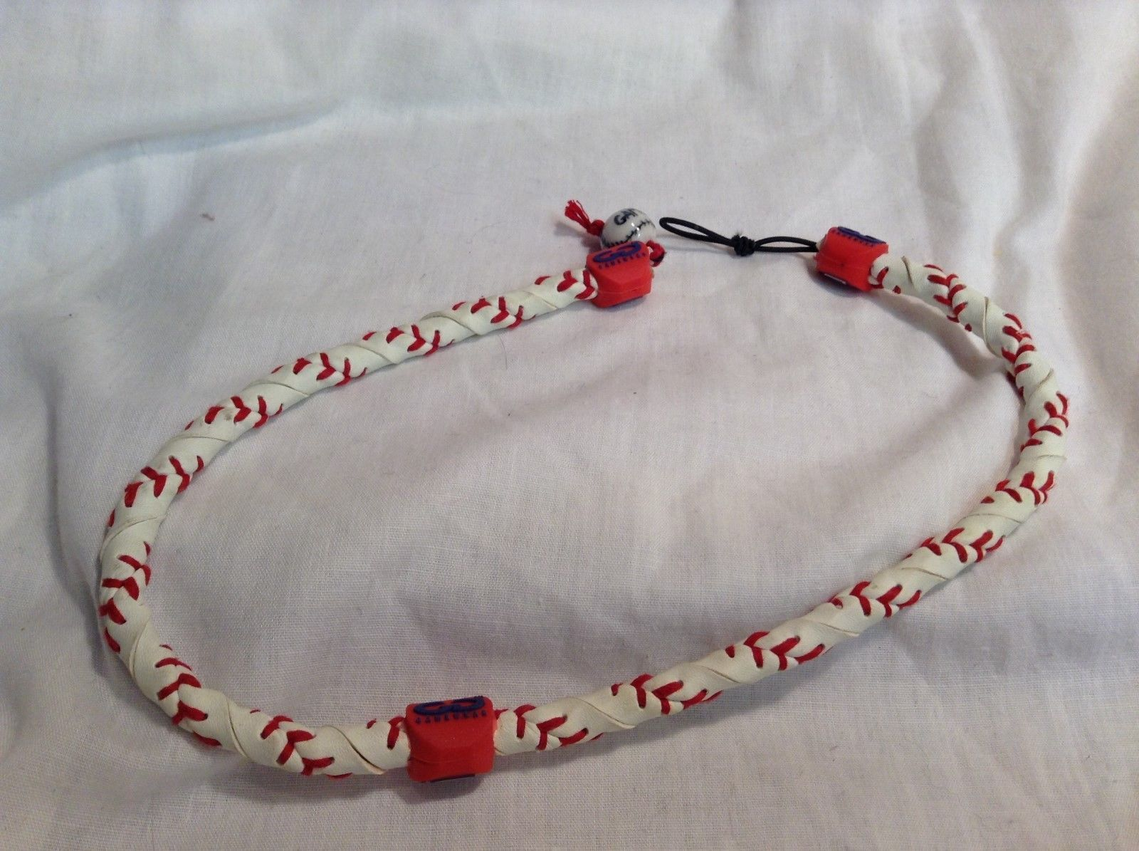 "NEW LS Baseball Gamewear White/Red 20"" Necklace"