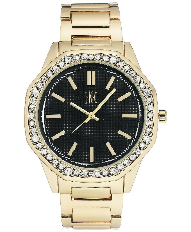I.N.C. Men's Gold Tone Black Crystals Octagonal Link Bracelet 45mm Watch NIB