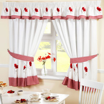 "Superb Poppy Gingham Kitchen Embroidered Curtains Drapes Red White W66"" X L54"" - $52.44"