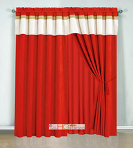 4P Stripe Solid Micro Faux Suede Curtain Set Red-Orange Beige Gold Valan... - $40.89