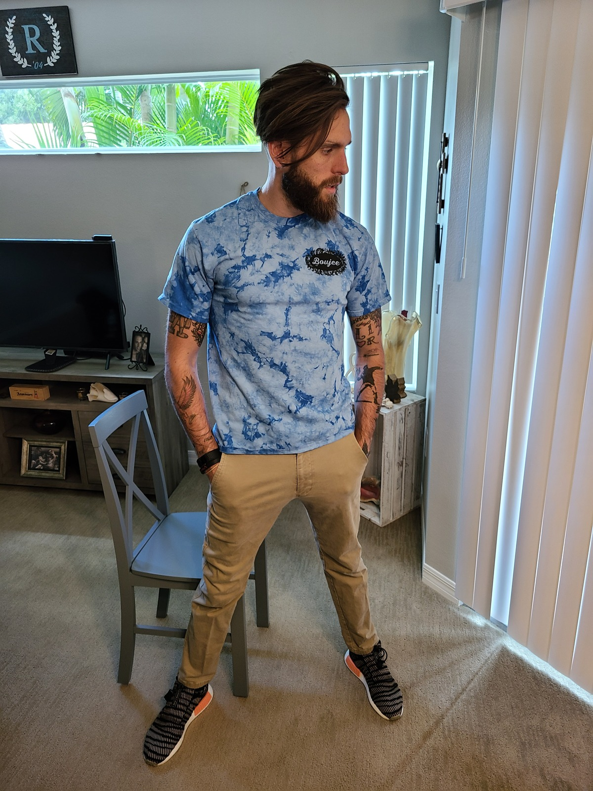 Primary image for Men's Regular Fit Tee Tie Dye Sky Blue/White