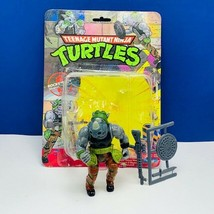 Teenage Mutant Ninja Turtle action figure 1988 Rocksteady complete card ... - $72.39