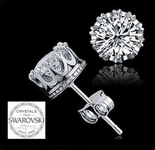 Lovely New Royal Crown Swarovski Crystal Stud Earrings~Sterling Silver~Gift Bag - $14.99