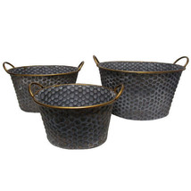 Senca Metal Oval Planters-Copper Band Set Of 3 - KIH42380 - $72.26