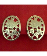 Avon CLIP ON EARRINGS Delicate Oval FLORAL ETCHED Gold Tone VTG Jewelry - $12.85