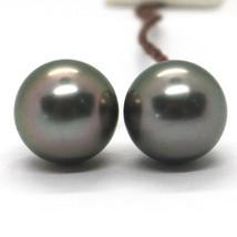 Ohrringe aus Gold Weiß 750 18K mit Perlen Schwarz, Tahiti, Durchmesser 12 MM image 1