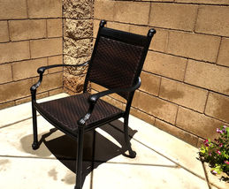 Outdoor Chairs Set Of 2 Cast Aluminum Patio Furniture Dining Wicker Balcony image 4