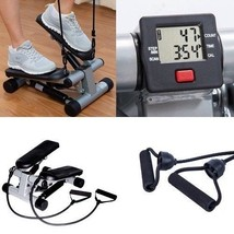 Mini Stepper Machine With Resistance Band Home Fitness Equipment LCD Dis... - $87.26
