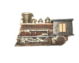 Wooden Train Engine Hand Painted Decorative Figurine Display Blue Gold B... - $9.50