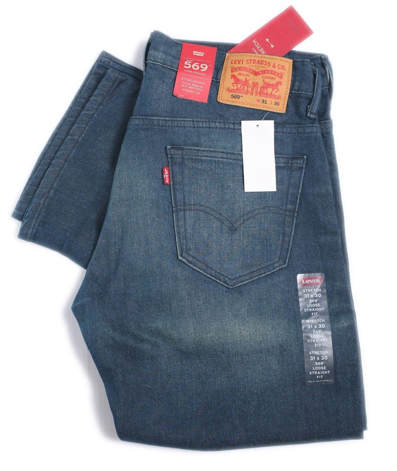 fc273312cdc 57. 57. Previous. Levis Mens 569 Loose Fit Straight Leg Zip Jeans Blue Denim  W31, W32 005690218