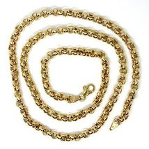 """18K YELLOW GOLD CHAIN 19.70"""" INCHES 50cm, BIG ROUND CIRCLE ROLO THICK 4 MM LINK image 3"""