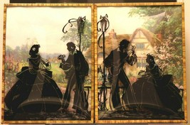 """Set of 2 Convex Glass 6 1/2"""" X 8 1/2"""" Silhouette Pictures Colonial Couple 135"""